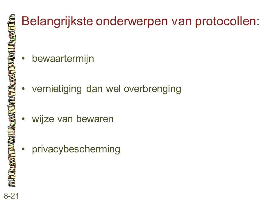 Belangrijkste onderwerpen van protocollen: