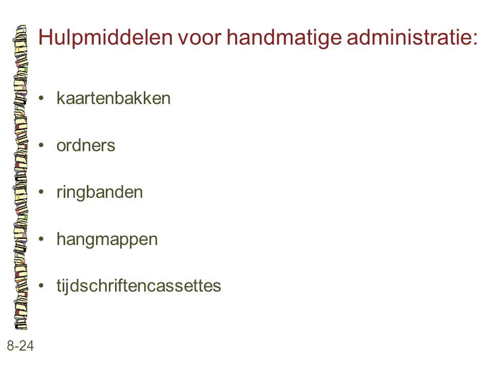 Hulpmiddelen voor handmatige administratie: