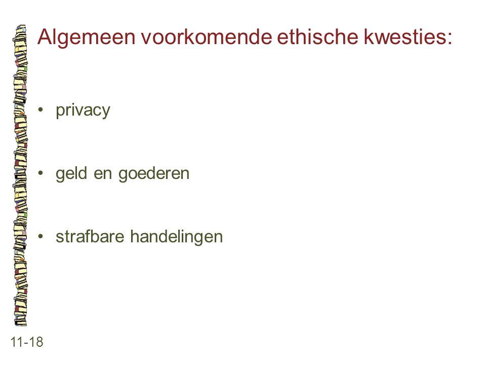 Algemeen voorkomende ethische kwesties: