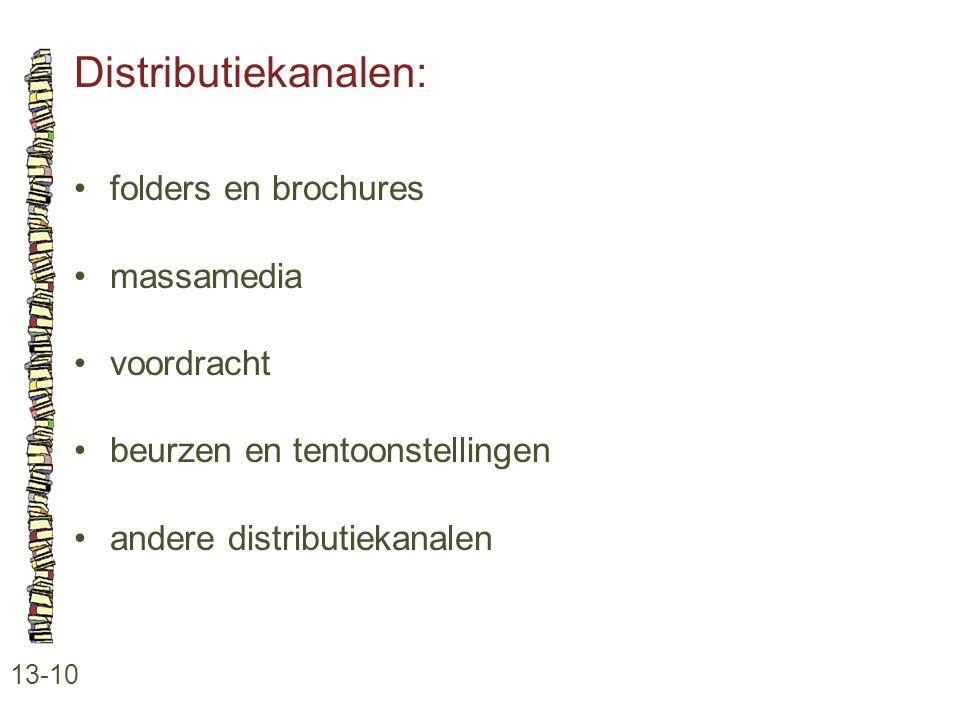 Distributiekanalen: folders en brochures massamedia voordracht