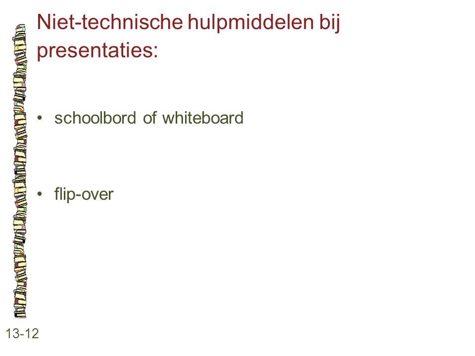 Niet-technische hulpmiddelen bij presentaties: