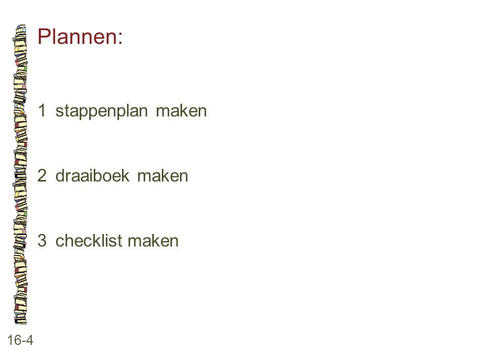Plannen: 1 stappenplan maken 2 draaiboek maken 3 checklist maken 16-4