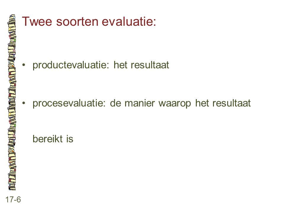 Twee soorten evaluatie: