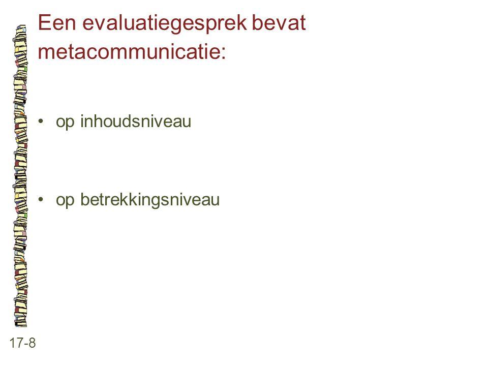 Een evaluatiegesprek bevat metacommunicatie: