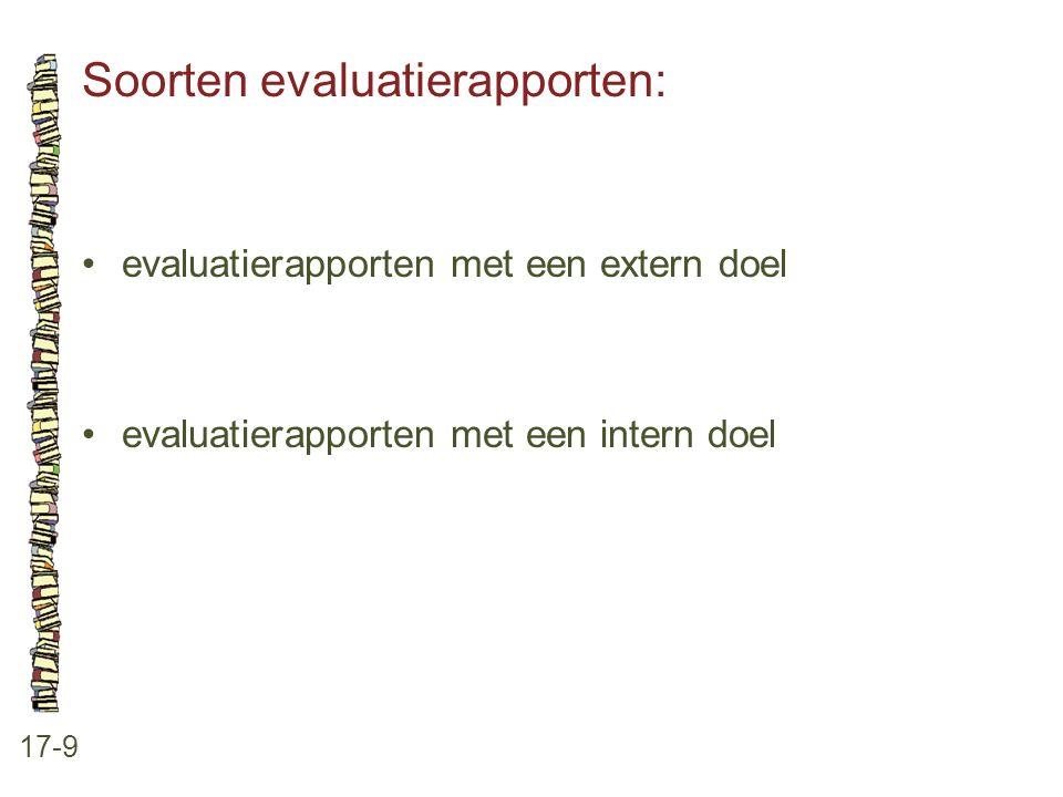 Soorten evaluatierapporten: