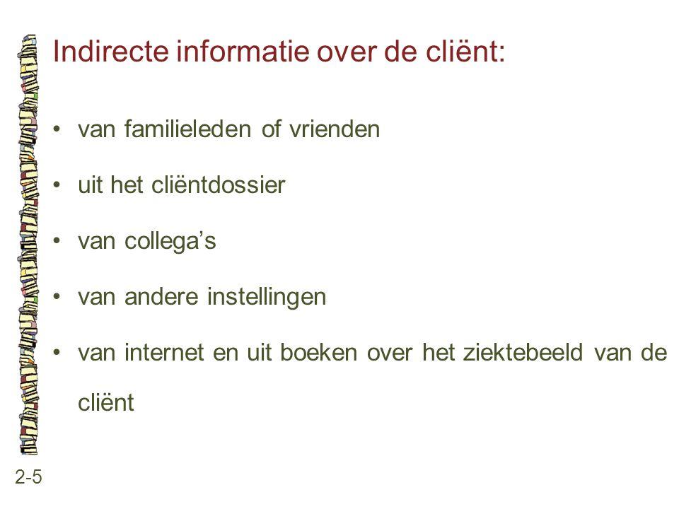 Indirecte informatie over de cliënt: