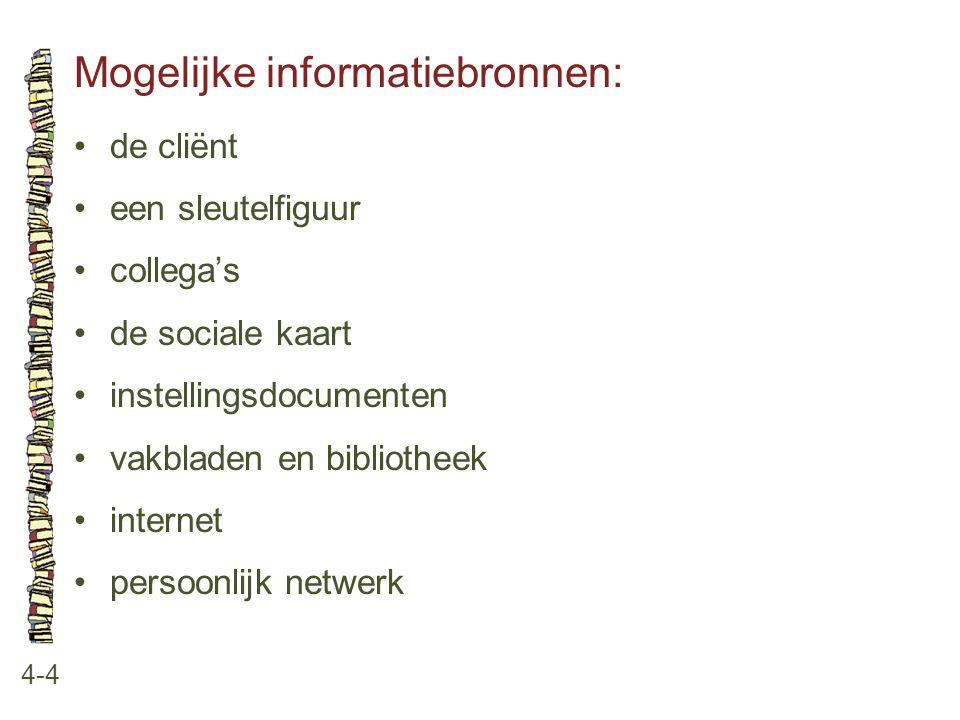 Mogelijke informatiebronnen:
