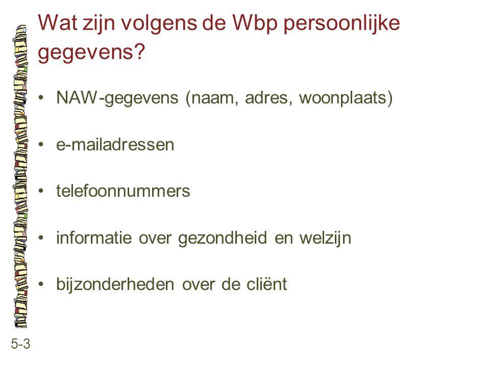 Wat zijn volgens de Wbp persoonlijke gegevens