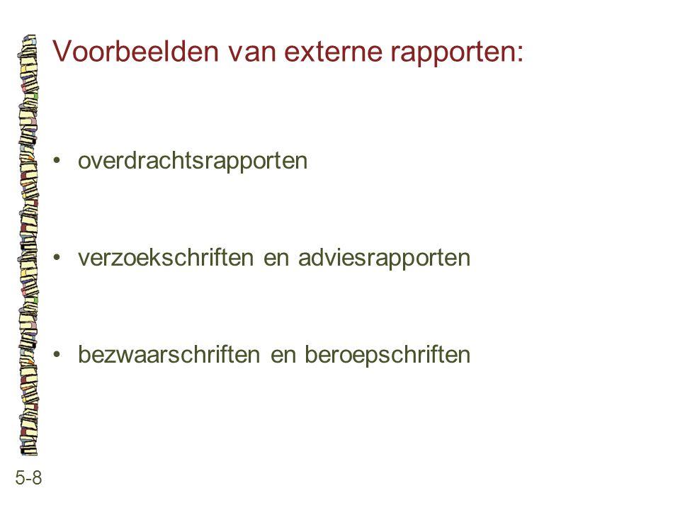 Voorbeelden van externe rapporten: