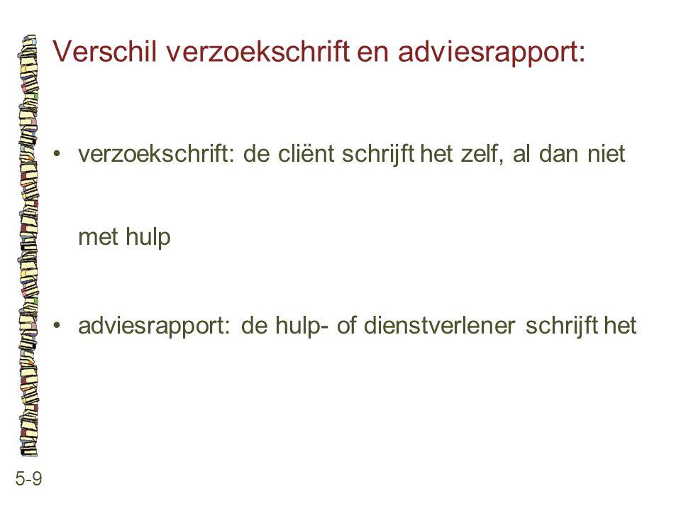 Verschil verzoekschrift en adviesrapport: