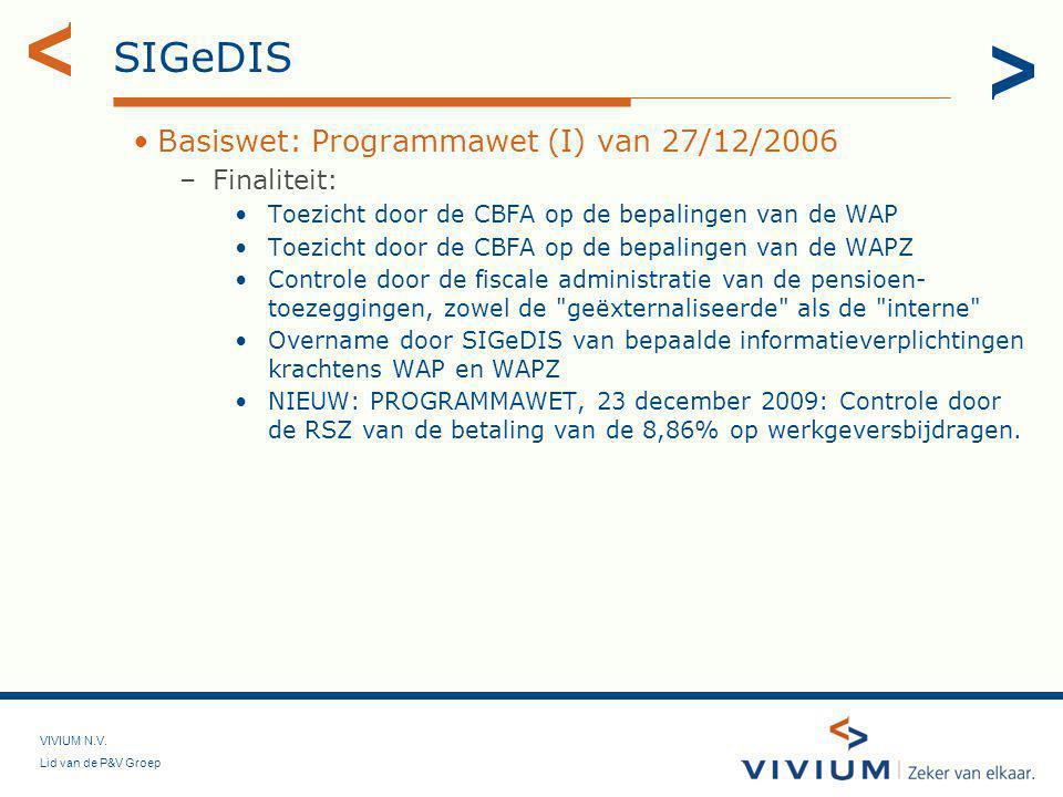SIGeDIS Basiswet: Programmawet (I) van 27/12/2006 Finaliteit: