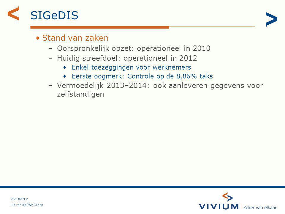 SIGeDIS Stand van zaken Oorspronkelijk opzet: operationeel in 2010