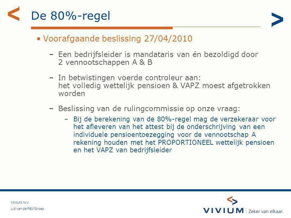 De 80%-regel Voorafgaande beslissing 27/04/2010