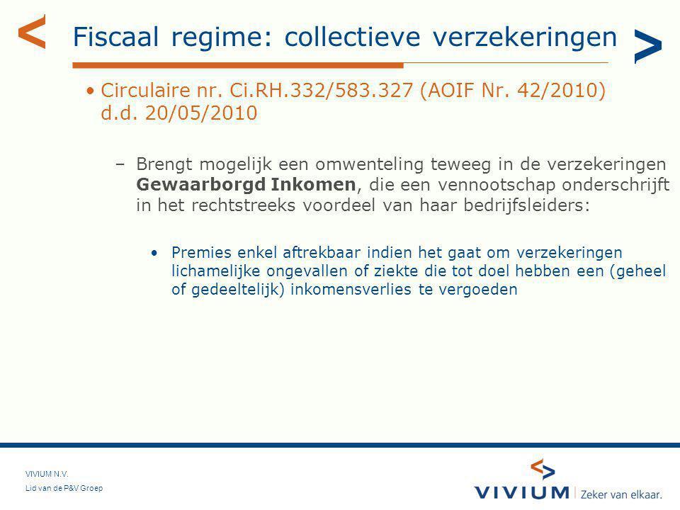 Fiscaal regime: collectieve verzekeringen
