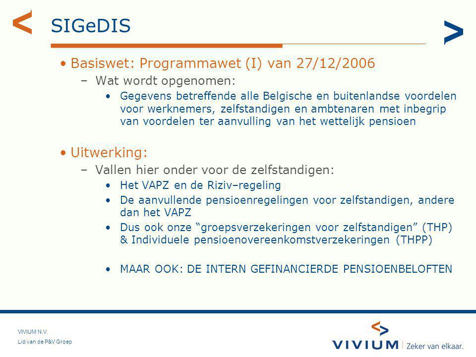 SIGeDIS Basiswet: Programmawet (I) van 27/12/2006 Uitwerking:
