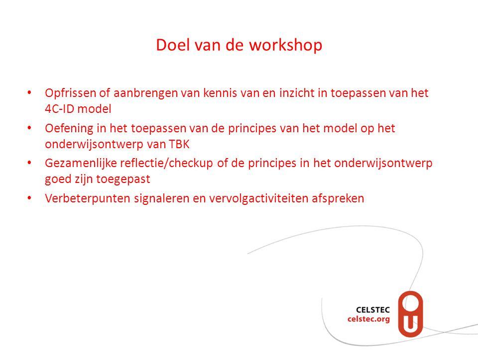 Doel van de workshop Opfrissen of aanbrengen van kennis van en inzicht in toepassen van het 4C-ID model.