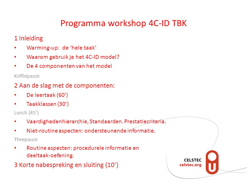 Programma workshop 4C-ID TBK