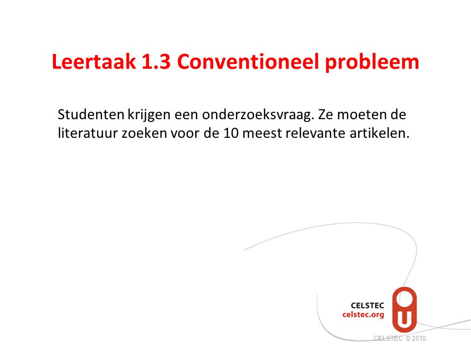 Leertaak 1.3 Conventioneel probleem