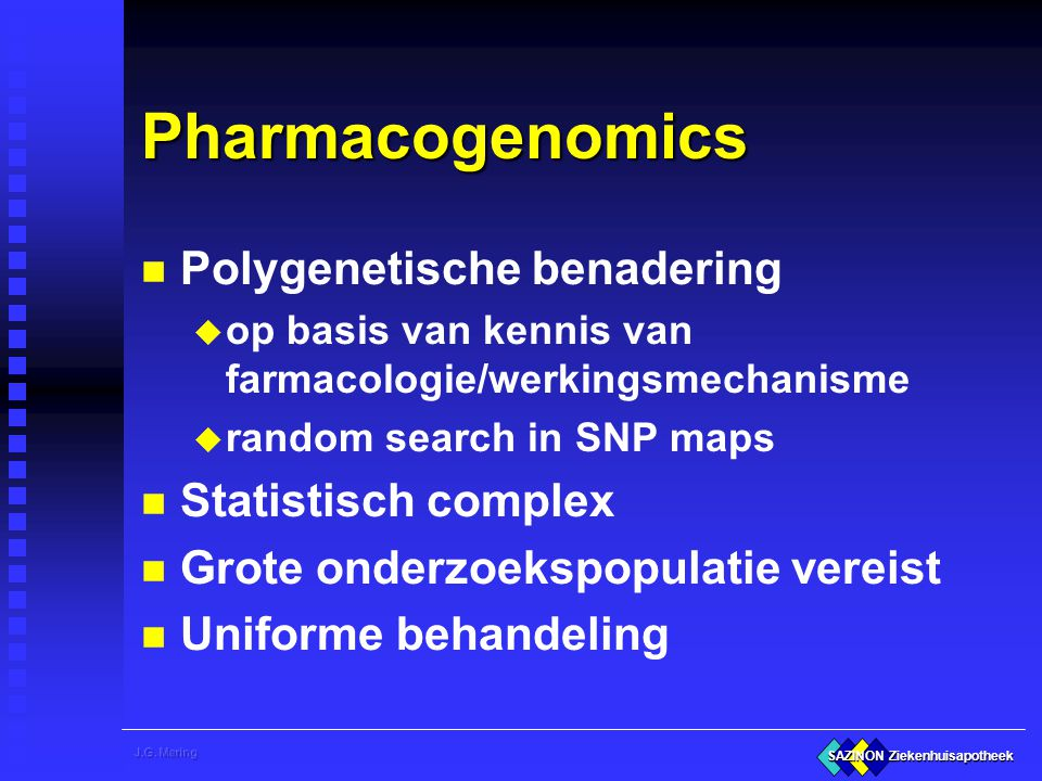 Pharmacogenomics Polygenetische benadering Statistisch complex