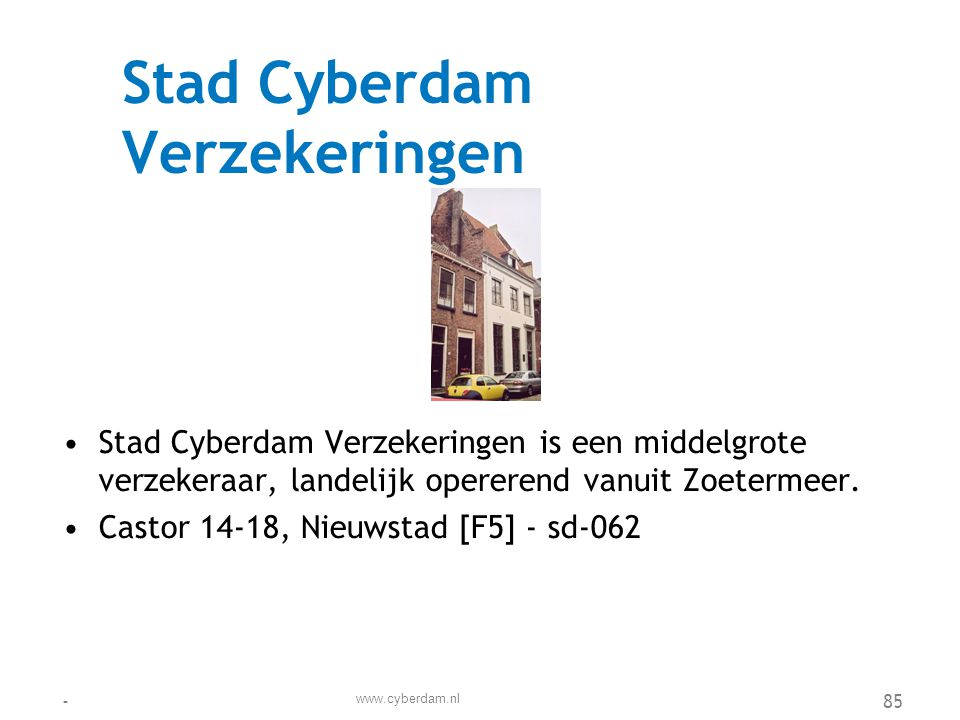 Stad Cyberdam Verzekeringen