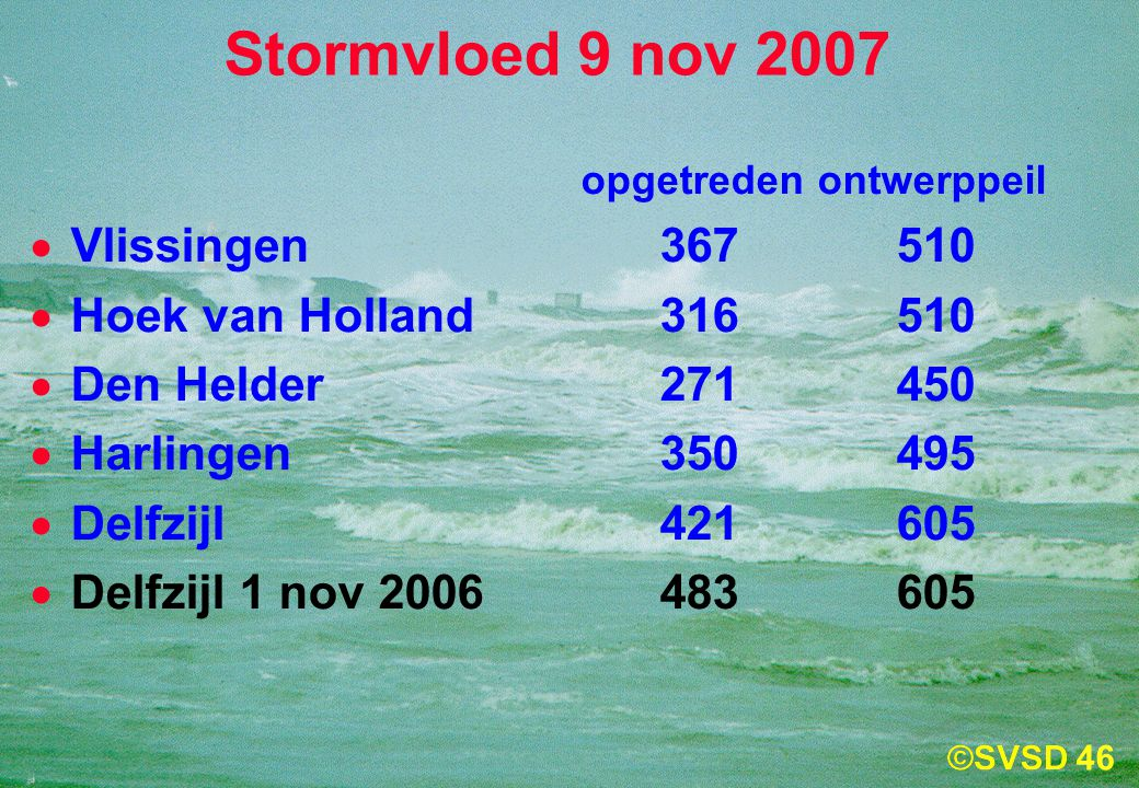 Stormvloed 9 nov 2007 Vlissingen 367 510 Hoek van Holland 316 510