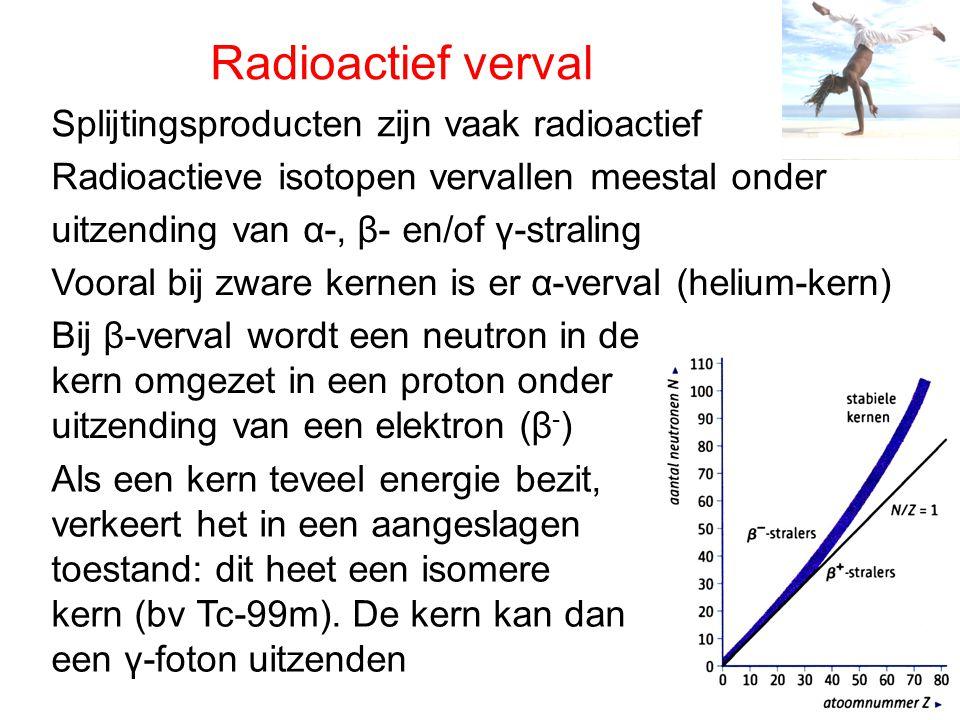 Radioactief verval Splijtingsproducten zijn vaak radioactief