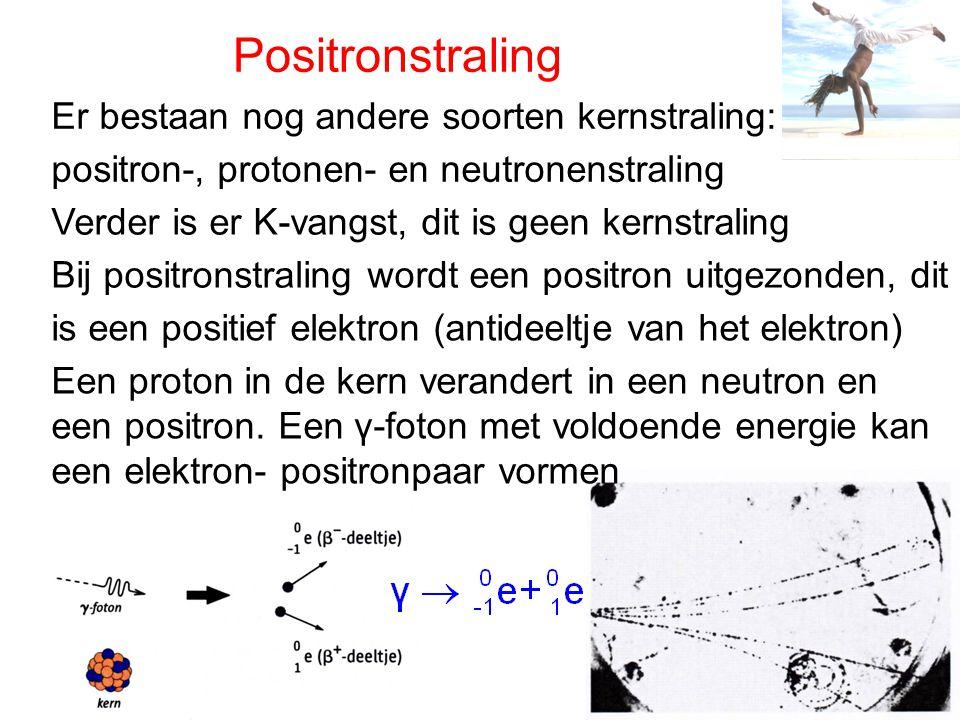 Positronstraling Er bestaan nog andere soorten kernstraling: