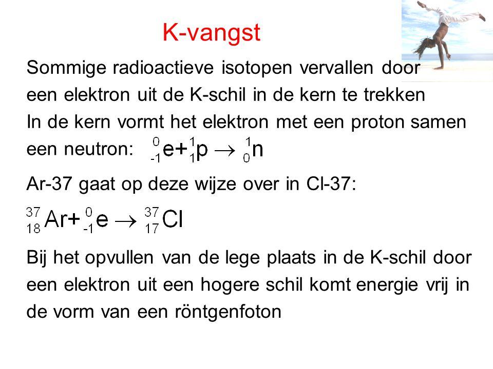 K-vangst Sommige radioactieve isotopen vervallen door
