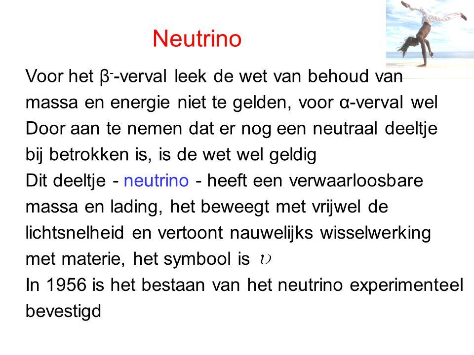 Neutrino Voor het β--verval leek de wet van behoud van