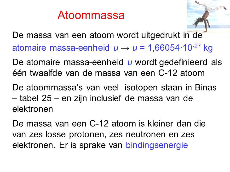 Atoommassa De massa van een atoom wordt uitgedrukt in de