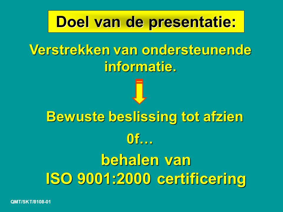 Doel van de presentatie: behalen van ISO 9001:2000 certificering