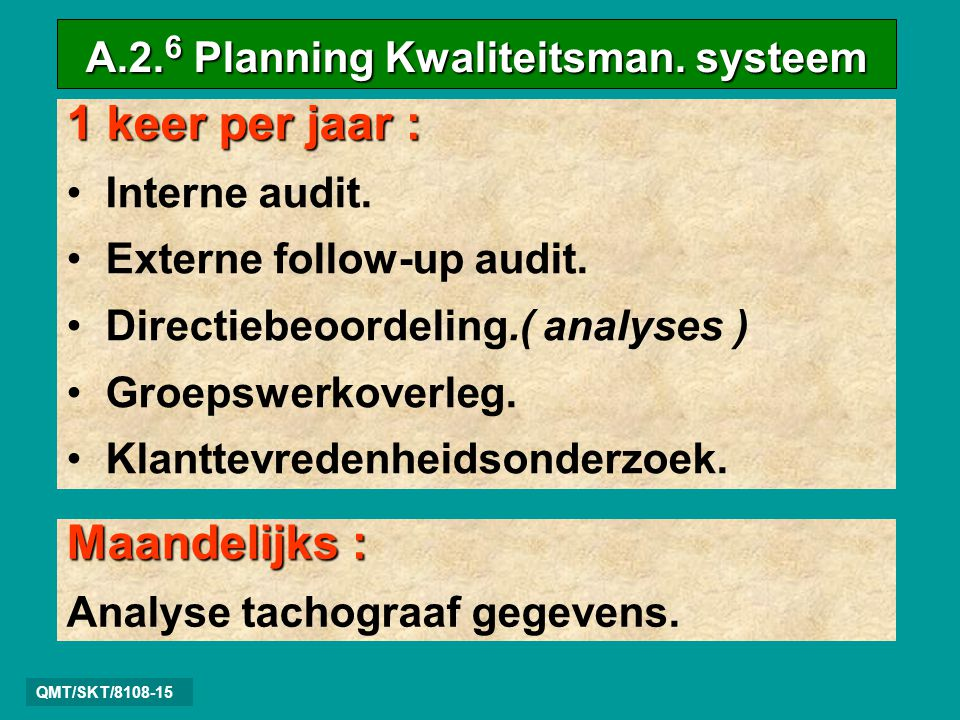 A.2.6 Planning Kwaliteitsman. systeem