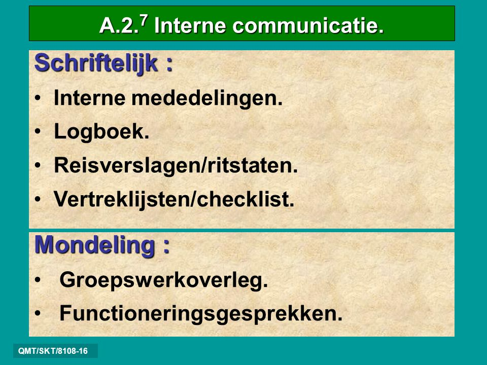 A.2.7 Interne communicatie.
