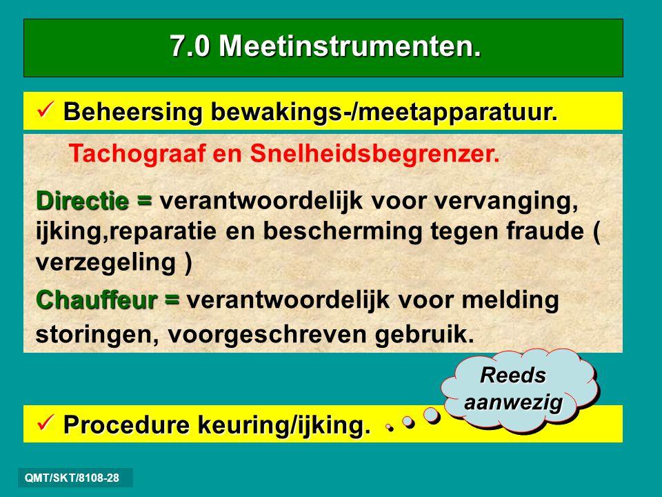 7.0 Meetinstrumenten. Beheersing bewakings-/meetapparatuur.