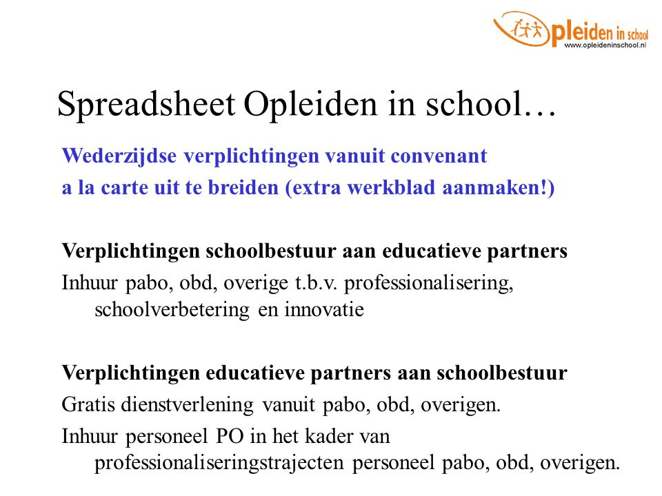 Spreadsheet Opleiden in school…