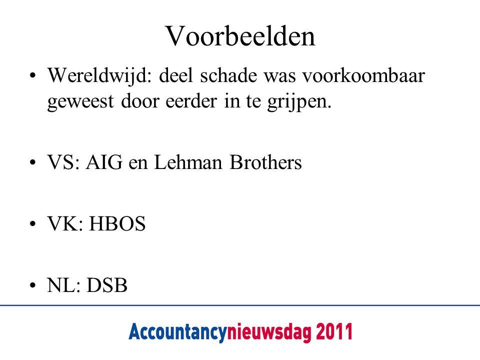 Voorbeelden Wereldwijd: deel schade was voorkoombaar geweest door eerder in te grijpen. VS: AIG en Lehman Brothers.