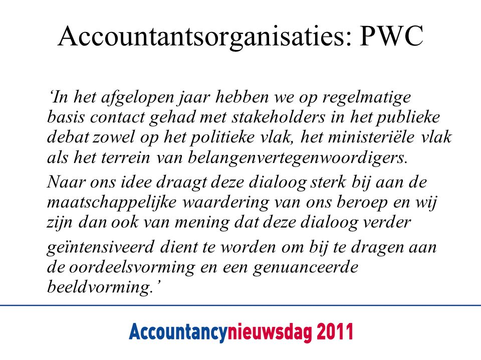 Accountantsorganisaties: PWC