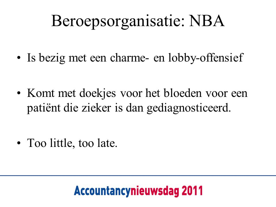 Beroepsorganisatie: NBA