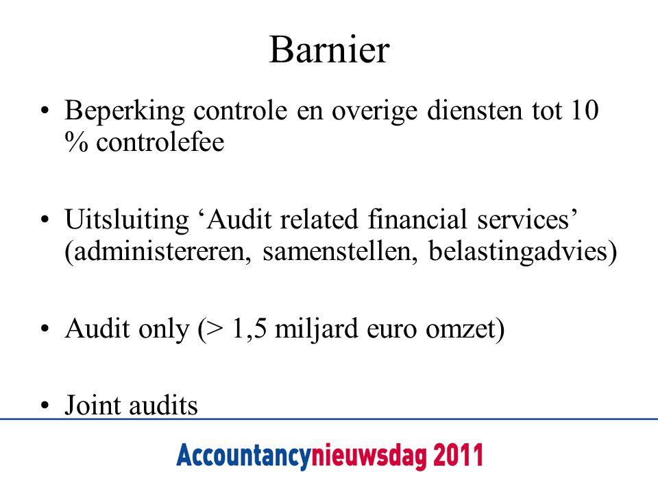 Barnier Beperking controle en overige diensten tot 10 % controlefee