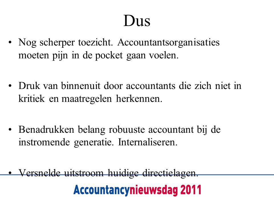 Dus Nog scherper toezicht. Accountantsorganisaties moeten pijn in de pocket gaan voelen.
