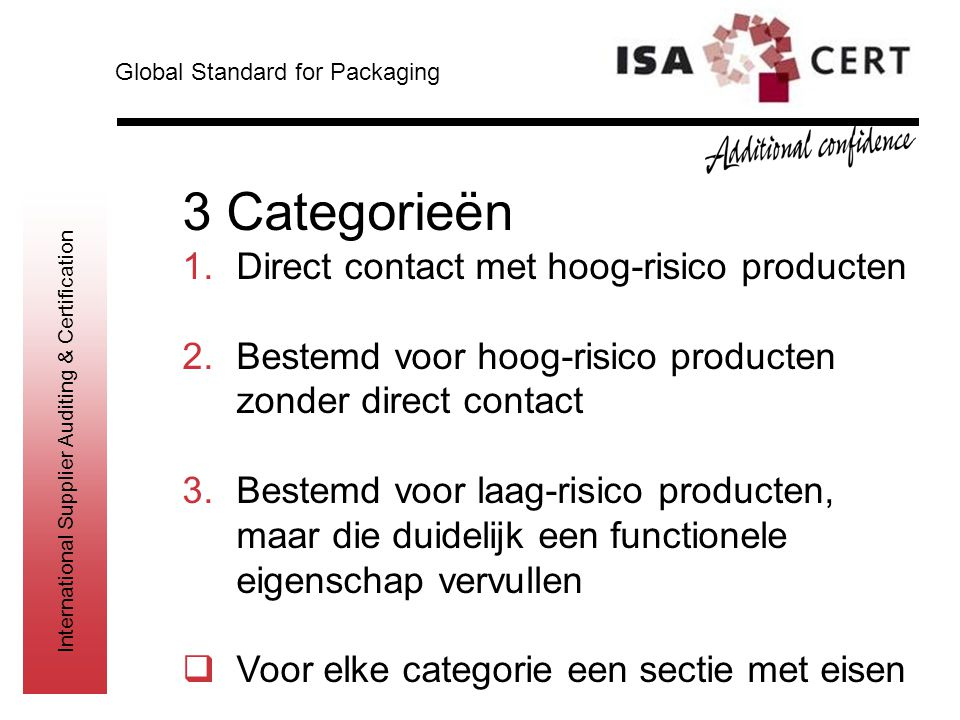 3 Categorieën Direct contact met hoog-risico producten