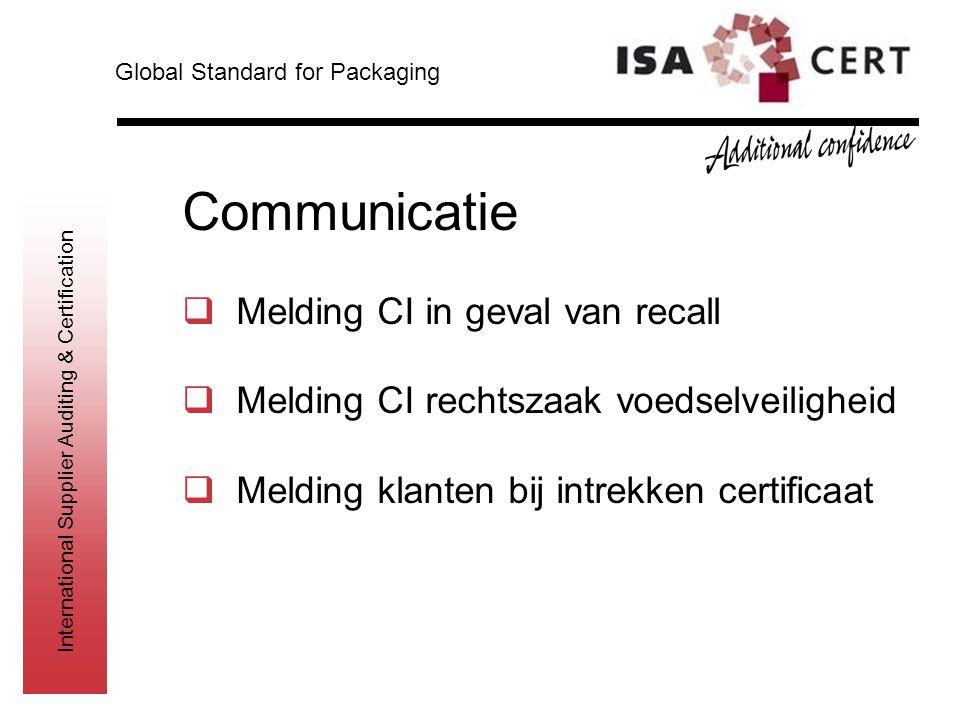 Communicatie Melding CI in geval van recall