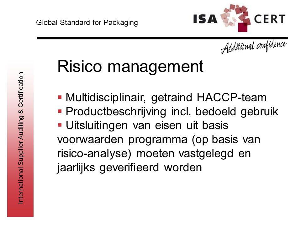 Risico management Multidisciplinair, getraind HACCP-team