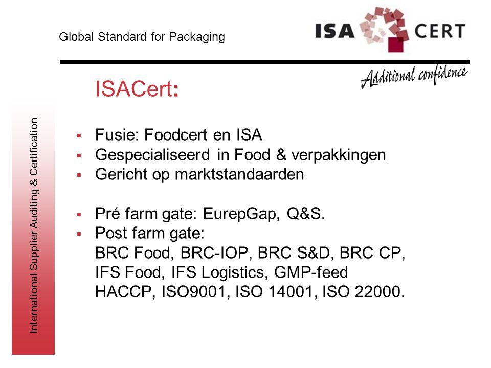 ISACert: Fusie: Foodcert en ISA Gespecialiseerd in Food & verpakkingen