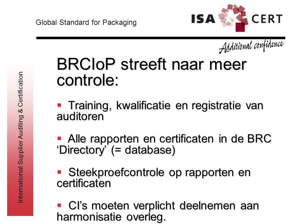 BRCIoP streeft naar meer controle: