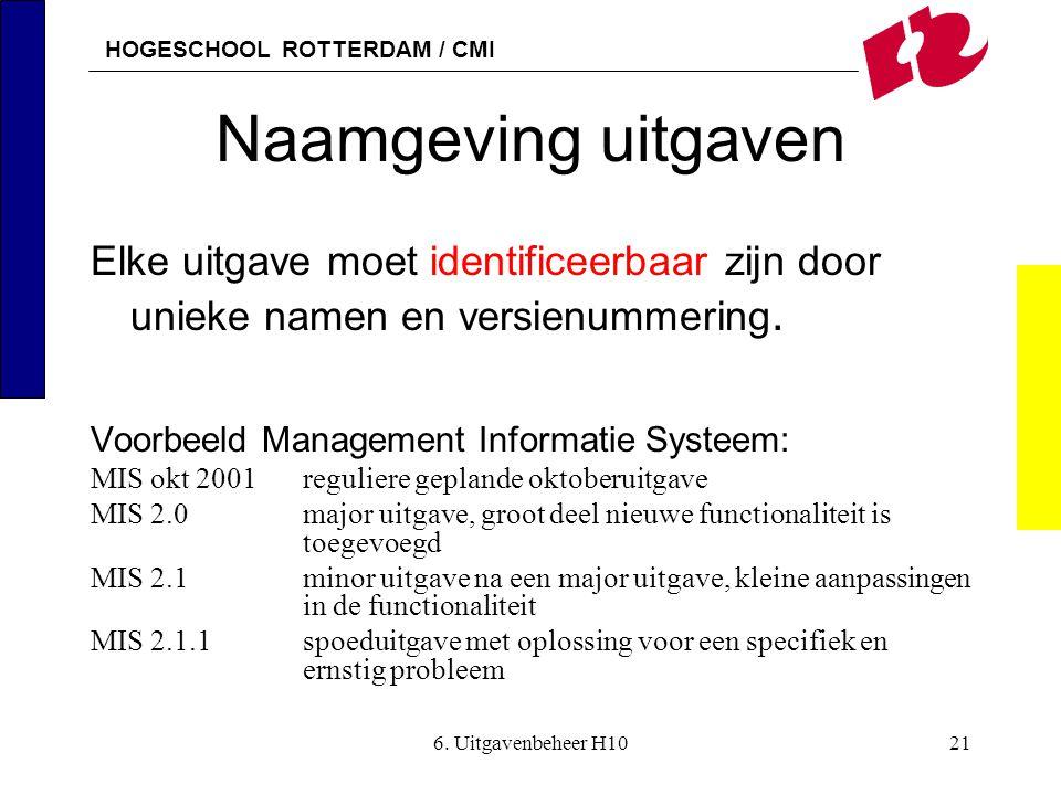 Naamgeving uitgaven Elke uitgave moet identificeerbaar zijn door unieke namen en versienummering. Voorbeeld Management Informatie Systeem:
