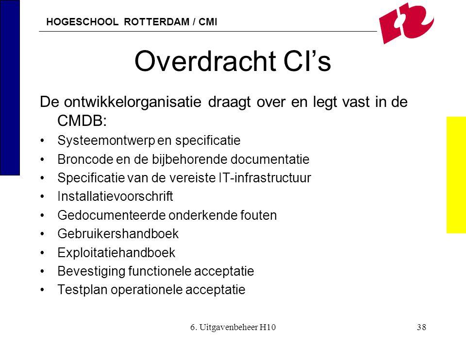Overdracht CI's De ontwikkelorganisatie draagt over en legt vast in de CMDB: Systeemontwerp en specificatie.
