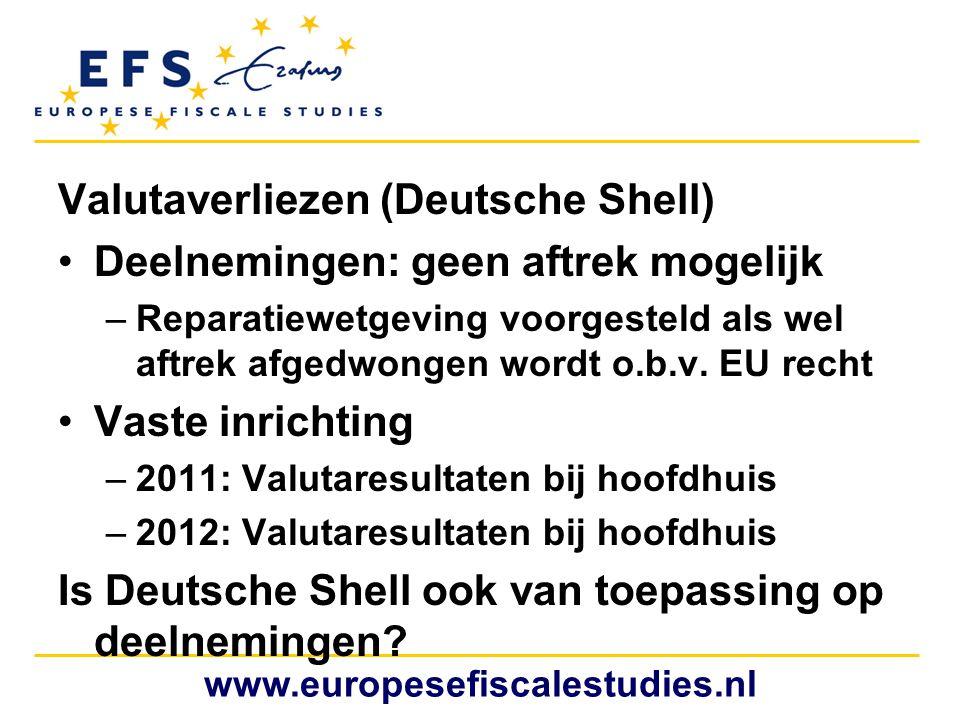 Valutaverliezen (Deutsche Shell) Deelnemingen: geen aftrek mogelijk