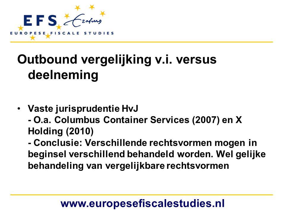 Outbound vergelijking v.i. versus deelneming