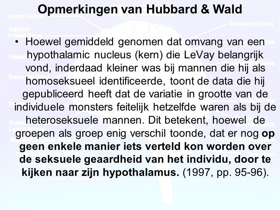 Opmerkingen van Hubbard & Wald
